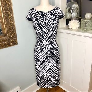 David Meister Black & White Print Sheath Dress